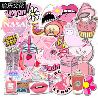 50 pcs pink girl cute graffiti Pvc Waterproof Stickers For car  Laptop Motorcycle Skateboard Luggage Decal Toy Sticker