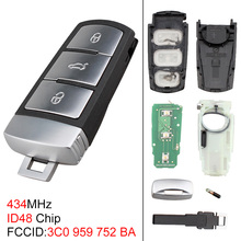 цена на 434MHz 3 Buttons Keyless Uncut Flip Key Remote Fob with ID48 Chip 3C0959752BA for VW Passat B6 3C B7 Magotan CC 2006-2011