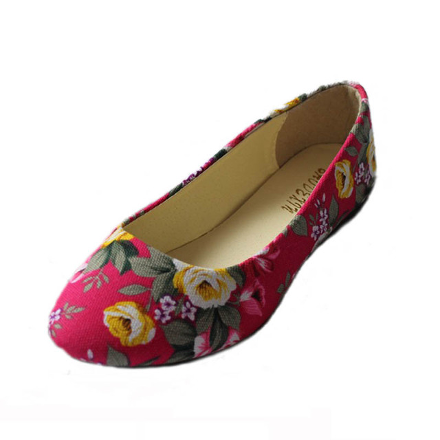 New 2016 Fashion Floral Print Cotton Fabric  Women Slip-on Flats Shallow Mouth Flat Shoes For Woman Ladies Ballerians Size 35-42