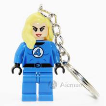 Invisible Woman Mrvel Super Hero Keyring Minifigures Keychain Keys Custom Ring Keychains Handmade Key Chain Building Blocks Toy