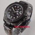 Bliger 40mm pvd automatische armbanduhr männer sapphire glas wasserdichte pilot zifferblatt schwarz keramik lünette 137-in Mechanische Uhren aus Uhren bei