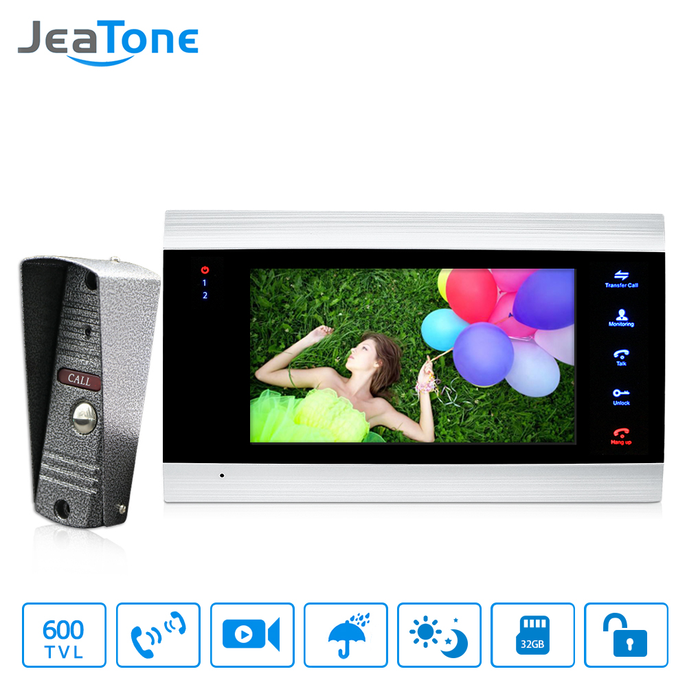 JeaTone 7 inch Video Door Phone Doorbell Intercom With 600TVL Outdoor Camera IP65 On Door Video Intercom Security System 4 Wired jeatone 4 inch tft wired video door phone intercom doorbell home security camera system picture memory