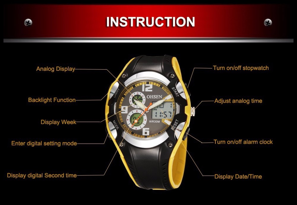 Original Ohsen Brand Fashion Sports Men's Watches 30M Waterproof Rubber Black Rubber Band Digital Sport Wristwatch for Men Gift (24)