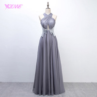 YQLNNE 2018 Silver Long Prom Dresses Halter Sequins Chiffon Evening Party Gown