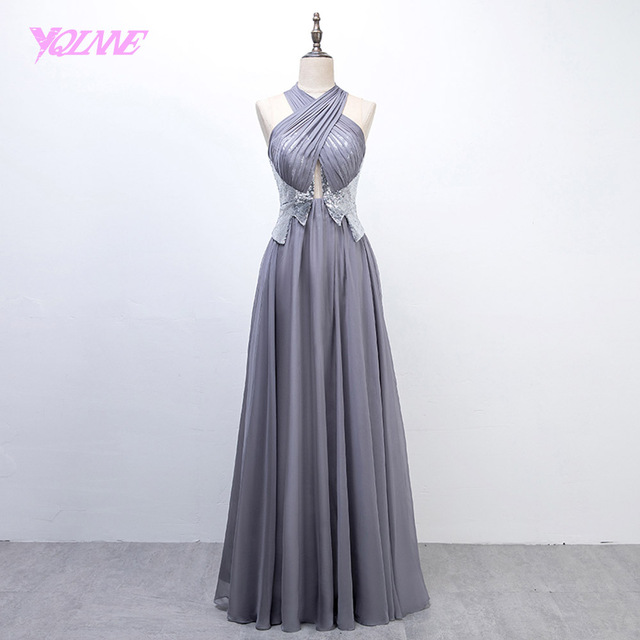 YQLNNE 2018 Sliver Long Prom Dresses Halter Sequins Chiffon Evening Party Gown