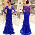 Beautiful V Neck Mermaid Lace Royal Blue Long Sleeve Evening Dresses 2017 Elegant Maternity Gowns Zipper-Up Court Train 510205