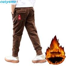 Toddler Kids Winter Trousers 2019 Autumn Children Pant Full Length Corduroy Plus Velvet Thicken Warm Teenage Boys Pants 5 6
