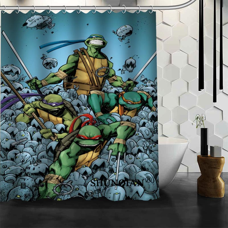 High Quality Custom Teenage Mutant Ninja Turtles Shower Curtain Polyester Fabric Bath Curtain Hooks Mildew Resistant 1PC Custom