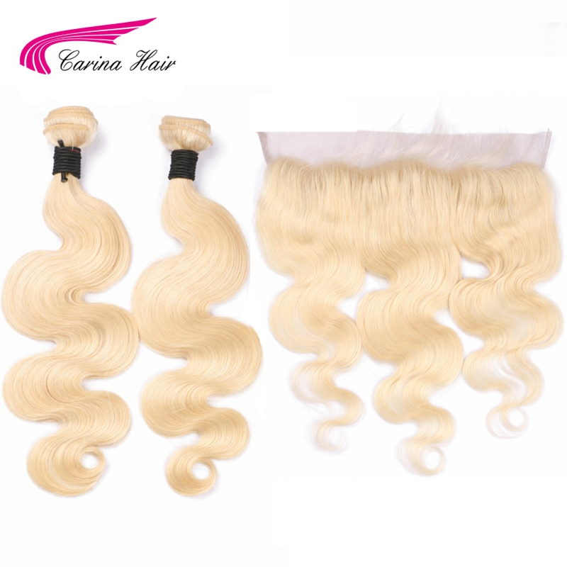 Carina Pure Blonde Color Brazilian Body Wave Bundle with Frontal 613 Color Remy Human Hair 2 Bundles with 13*4 frontal
