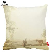 Vinatge Photo White Morning Horses Print Car Decorative Pillowcase Pillow Cases Cushion Covers Sofa Home Decor
