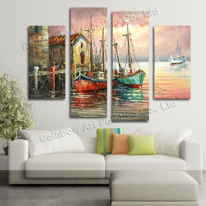 4 Piece Handmade Home Decoration Wall Art Palette Knife Boat Sea Landscape Oil Painting Wall Decoration Paintings