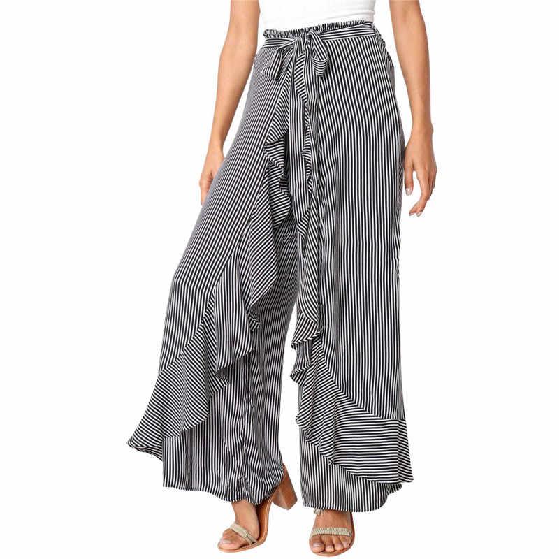 2801df2656 Women Stripe split wide leg pants women bottom Sash ruffle high waist trousers  Summer beach casual