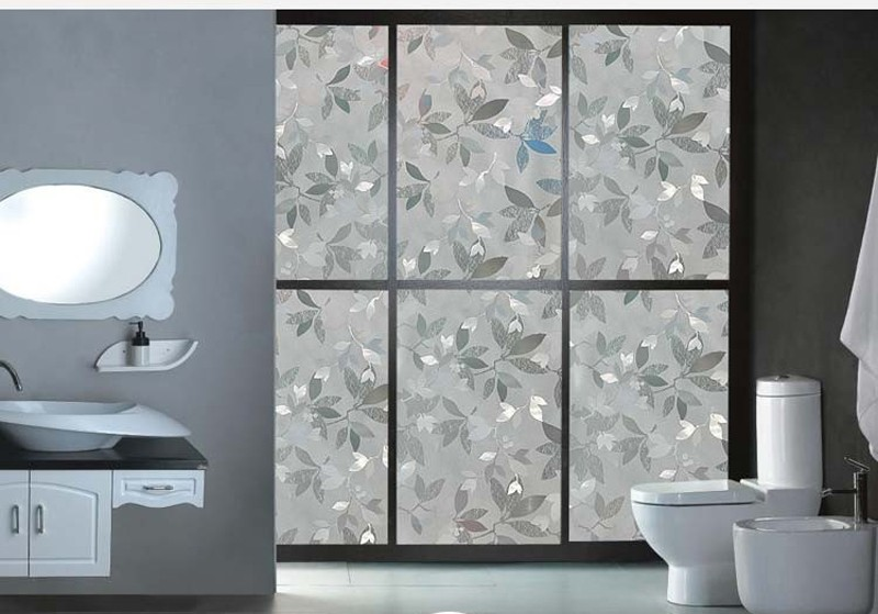 New Type 3D Static Cling Semi-Transparent Leaves Decorative Privacy Etched Glass Window Film Vinyl 29x300cm