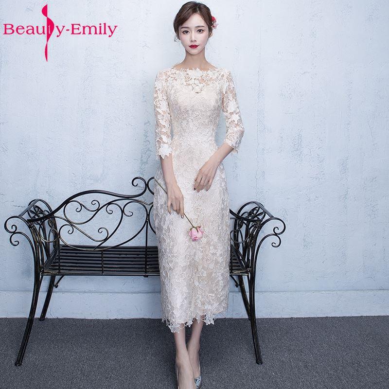 Beauty Emily White Tea length Lace Evening Dresses 2019 O Neck Three Quarter Lace Women Formal