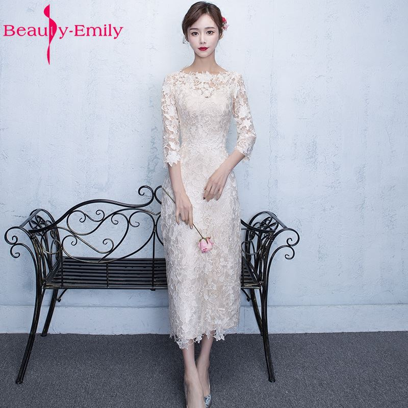 Beauty-Emily White Tea-length Lace   Evening     Dresses   2019 O-Neck Three Quarter Lace Women Formal   Evening   Party Prom   Dresses