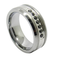 Luxury Style Mens Tungsten Ring Channel Set Black CZ Inlay 8mm Cubic Zirconia Rings Wedding Sets Size 6 13