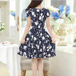 2019 new Plus Size Summer Slim Thin Sexy Short Sleeve Dress Lady Print Floral Dress women clothes 2
