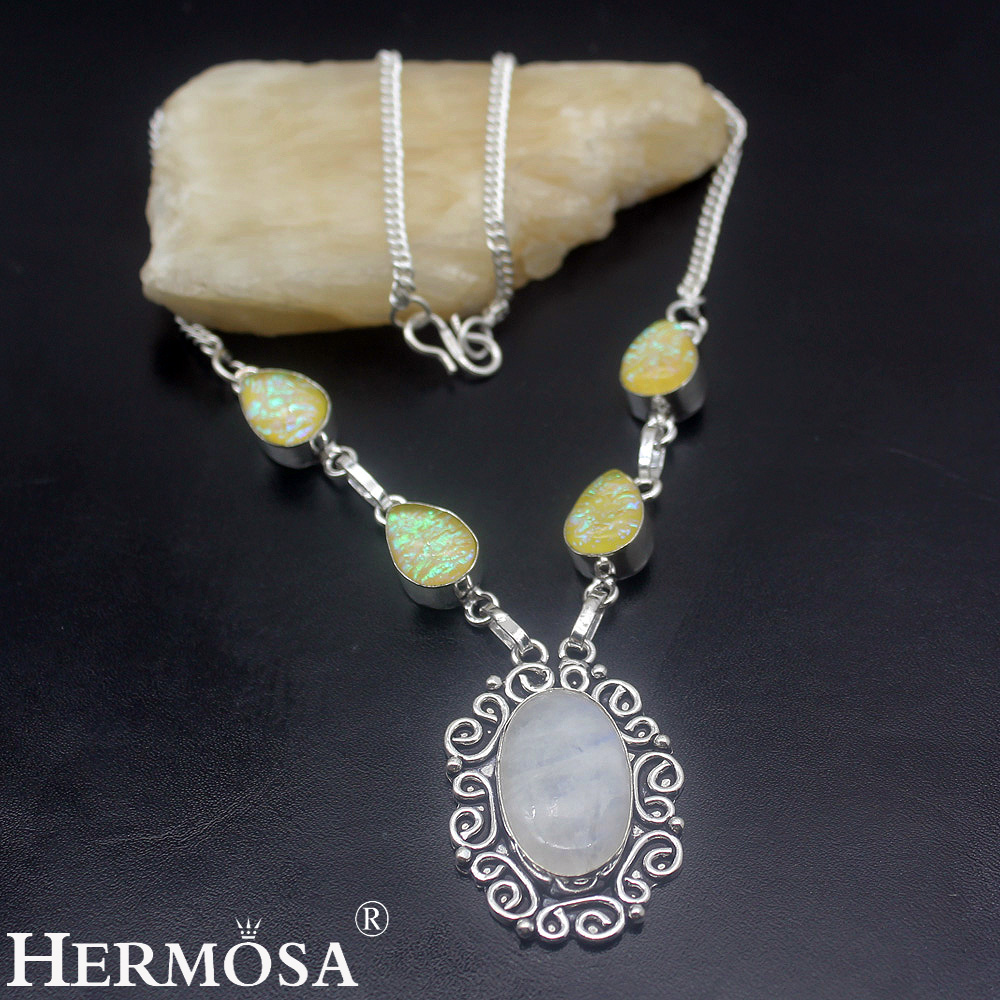 Hermosa Jewelry Unique Fashion RAINBOW MOONSTONE DICHROIC GLASS 925 Sterling Silver Women Necklace 19 inches HM911 недорго, оригинальная цена