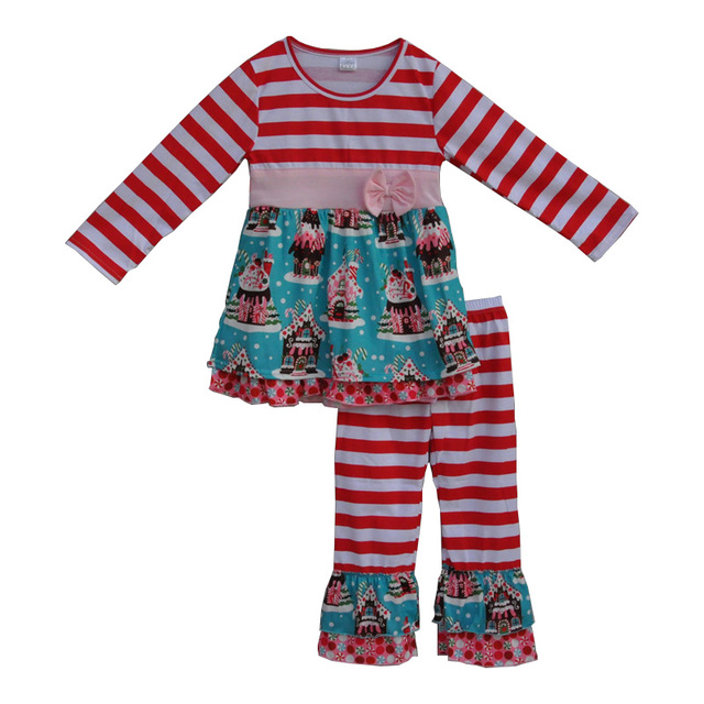 2017 new year toddler girls outfits christmas kids clothing stripe tunic dress baby pants cute children clothing sets  F113