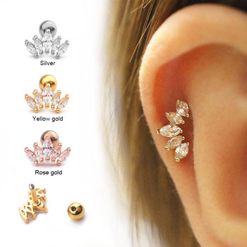 Sellsets 1pc Cz Crown Tragus Stud Conch Piercing Helix Cartilage Earring Crystal Piercing Ear Jewelry Shopgenx