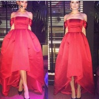 Boat Neck Off The Shoulder Hot Red High Low Prom Dresses 2017 Simple African Evening Gowns
