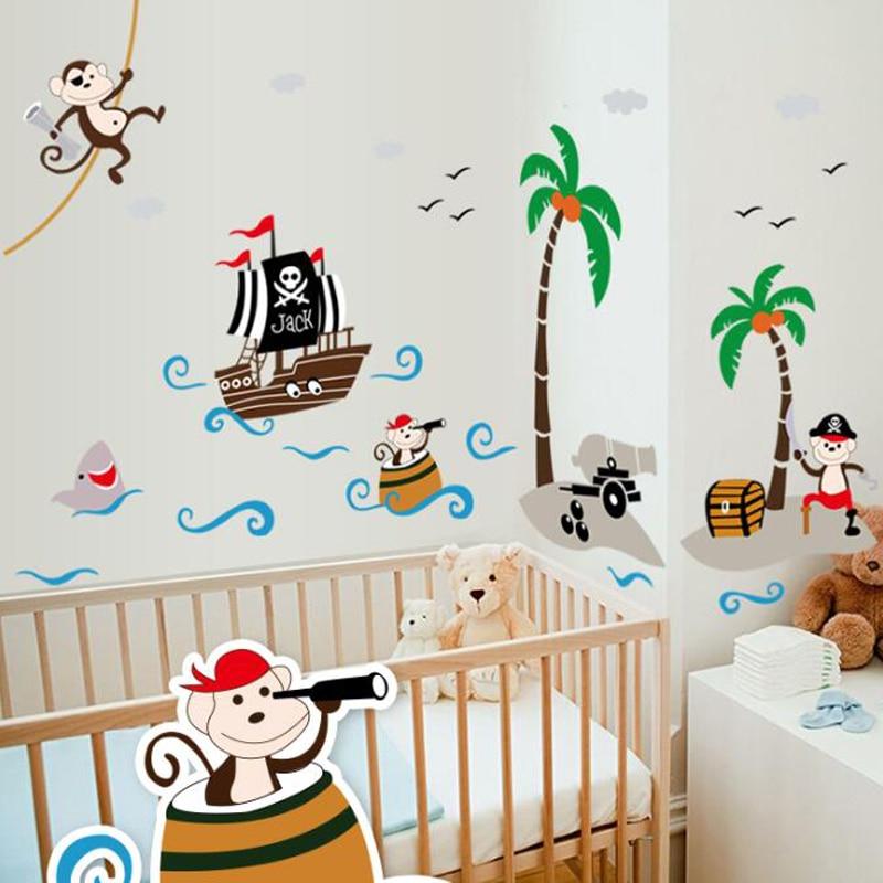 Children S Room Cute Pirate Monkey Wa
