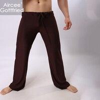 Men's Pajamas AIRGOTT Brand Low Waist Pure Color Soft Breathable Comfortable Homewear Casual Clothe Lacing Sexy Male Pants
