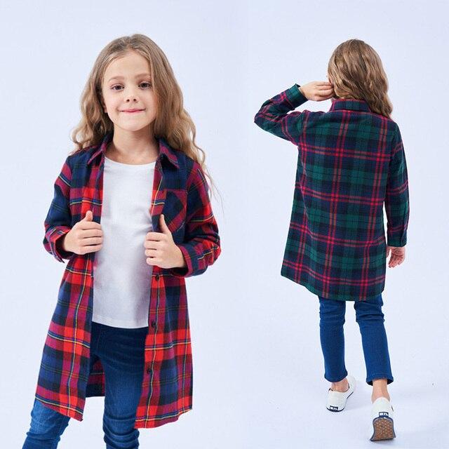 df8c1a35 Kids Shirts for Girls Cotton Children Clothes Fashion Autumn Girl Collar Tops  Red Orange Plaid Shirt Long Sleeve Teenage Blouse