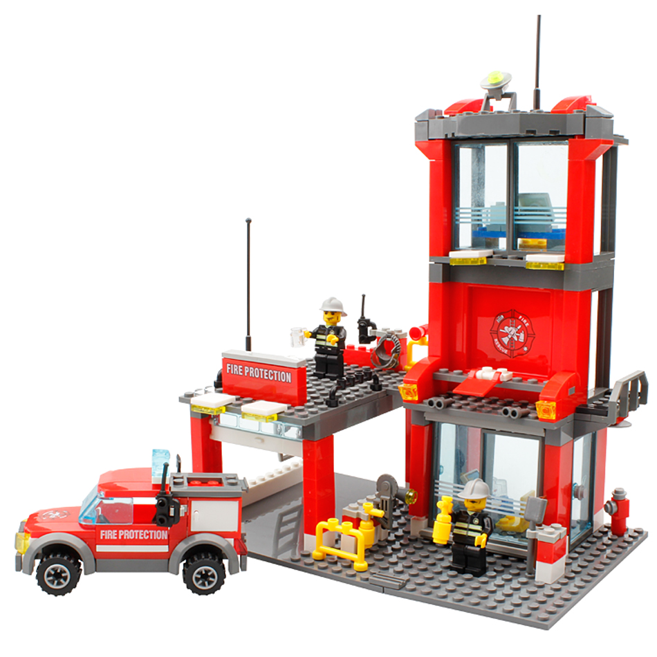 City Fire Station Building Blocks Toys Compatible Legoe City Truck Model Toys With Firefighter police Figures Toys For Kid Gift lepin 02012 city deepwater exploration vessel 60095 building blocks policeman toys children compatible with lego gift kid sets