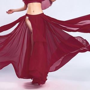 Image 5 - Женская юбка для танца живота сплошной цвет восточный танец костюм с высоким вырезом индия болливуд односторонняя сплит танец живота длинная юбка