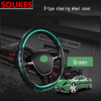 D Shape Genuine Leather Cool Car Steering Wheel Covers For BMW E46 E39 E90 E60 E36 F30 F10 E34 X5 E53 E30 F20 E92 E87 M3 M4 M5 image