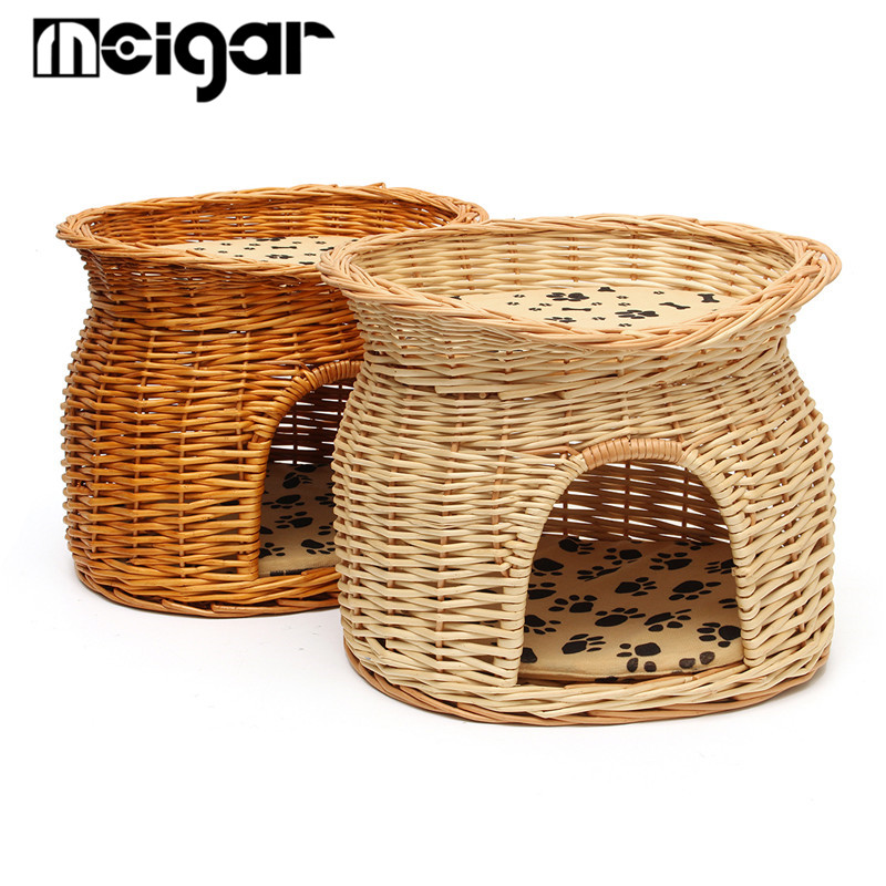 2 Tier Wicker Cat Bed Basket Bed Pod House Rattan Sleeping Cave Cushion Handmade Puppy Small Bed Cats Nap Mat Cave Easy Wash