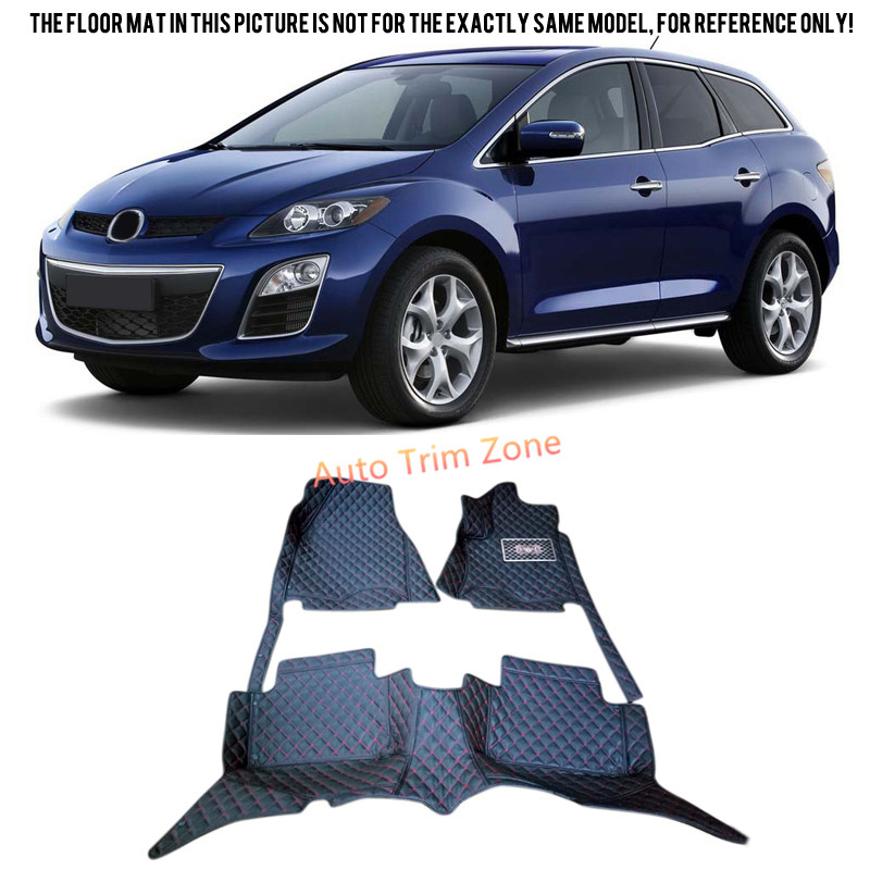 Black Interior Leather Floor Mats & Carpets Foot Pads For Mazda CX-7 2008-2015