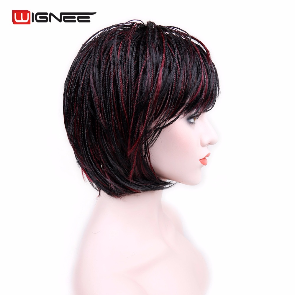 Wignee Short Bob Wig With Bangs Braided Box Braids Wig High Heat Synthetic Fiber Hair Crochet Twist Cosplay Hair For Black Women