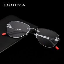 โลหะ Rimless กรอบแว่นตาผู้ชายผู้หญิง Retro แว่นตายี่ห้อ Designer Ultralight Clear สายตาสั้นกรอบ # IP8033