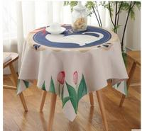 Nordic cotton linen blue color white cat tablecloth durable table cloth square tea table cover cloth