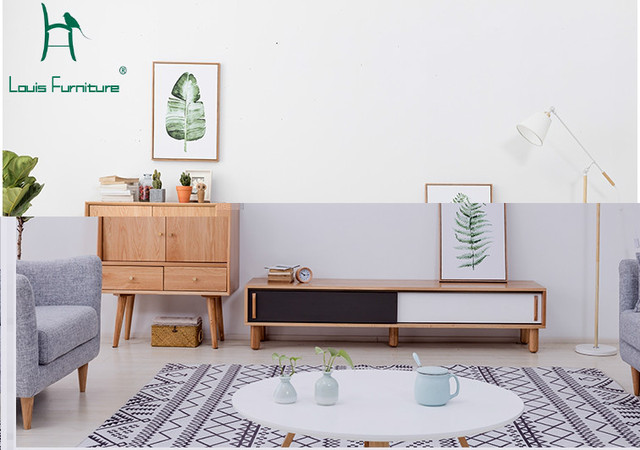 Superieur Louis Fashion Real Wood TV Cabinet Modern Simple Living Room Furniture Suit  Small Apartment TV Cabinet