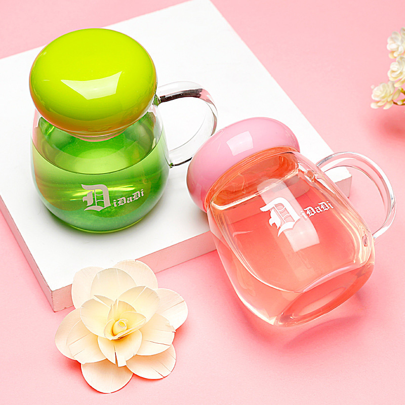 Water Bottle 300ml Simple Fashion Glass Student Tea Hand Holding A Water Bottle Handle Creative Style Lemon With A Lid Kettle