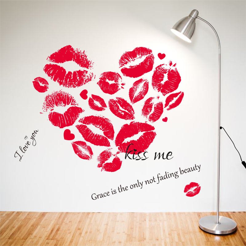 Red mouse window sticker kisses lip print sticker for festival valentines day love for shop store cafe bar sticker in wall stickers from home garden on
