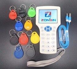 Anglais Rfid NFC copieur lecteur écrivain Cloner copie 10 fréquence programmeur + 5 pièces 125khz EM4305 porte-clés + 5 pièces 13.56mhz UID clé