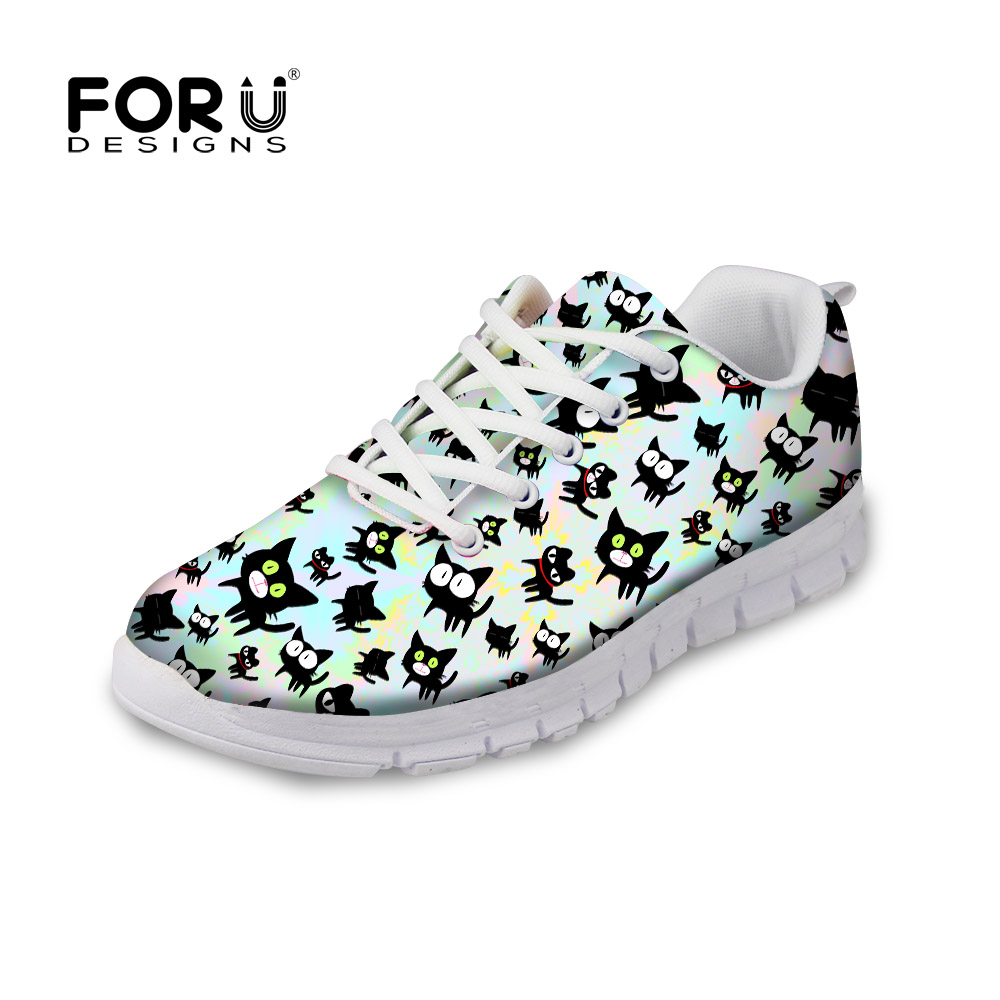 FORUDESIGNS Women Fashion Flats Shoes Cute Summer Black Cat Prints Female Comfortable Mesh Shoes Ladies Flat Leisure Sneakers instantarts cute glasses cat kitty print women flats shoes fashion comfortable mesh shoes casual spring sneakers for teens girls