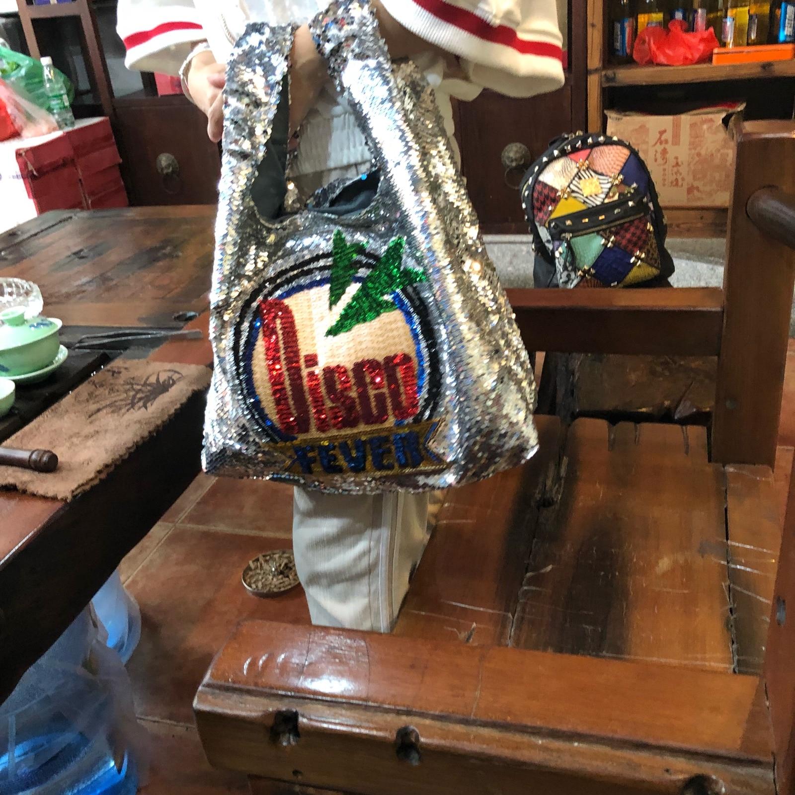 Disco Fashion Sequined Causal Tote Bag Large Beach Bag Beaded Blingbling Sliver Shoper Shopping Bag Luxury Lady Handbags louis