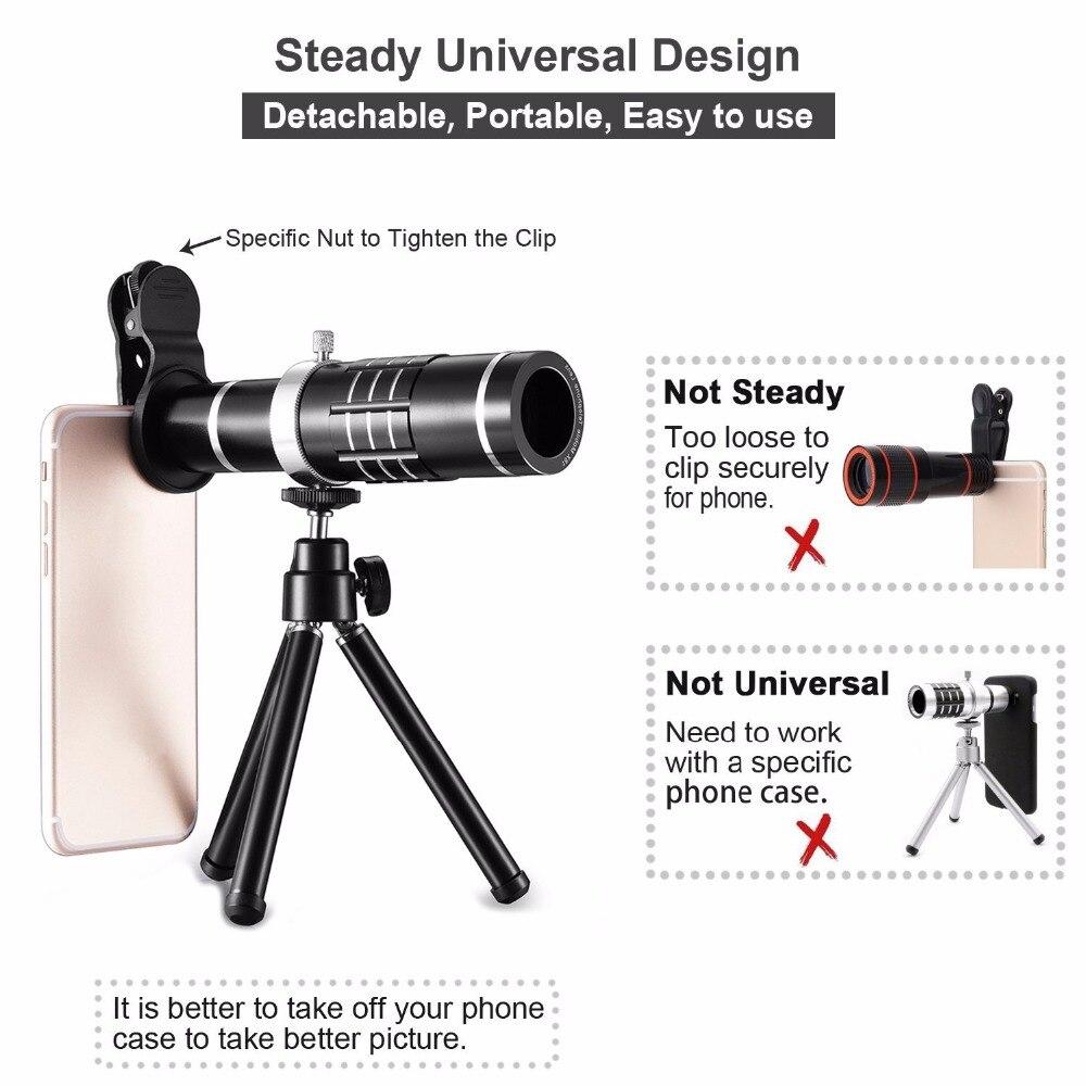 Universal 18X Zoom teléfono móvil cámara óptica teleobjetivo telescopio con Mini trípode de montaje para iPhone Samsung Smartphone - 2