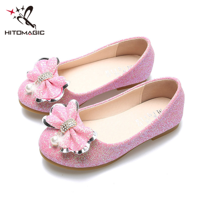 HITOMAGIC Girls Shoes For Children Kids Shoes Leather Princess Toddler For Autumn Footwear With Bows Soft Pink Wedding Size 3 цена 2017