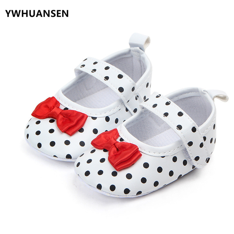 Baby Shoes Factory Price Baby Girl Soft Sole Shoes Dots Bowknot Toddler Anti-slip Shoes Newborn