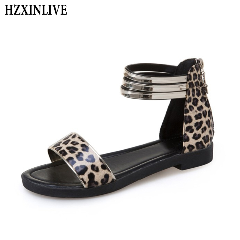 HZXINLIVE 2018 Women Summer Flat Sandals Shoes Female Cover Heel Zip Sexy Leopard Sandals Ladies Casual Shoes sandalias mujer hzxinlive elegant summer sandals women high heel wedges shoes woman round toe roman sandals ladies footwear female casual shoes
