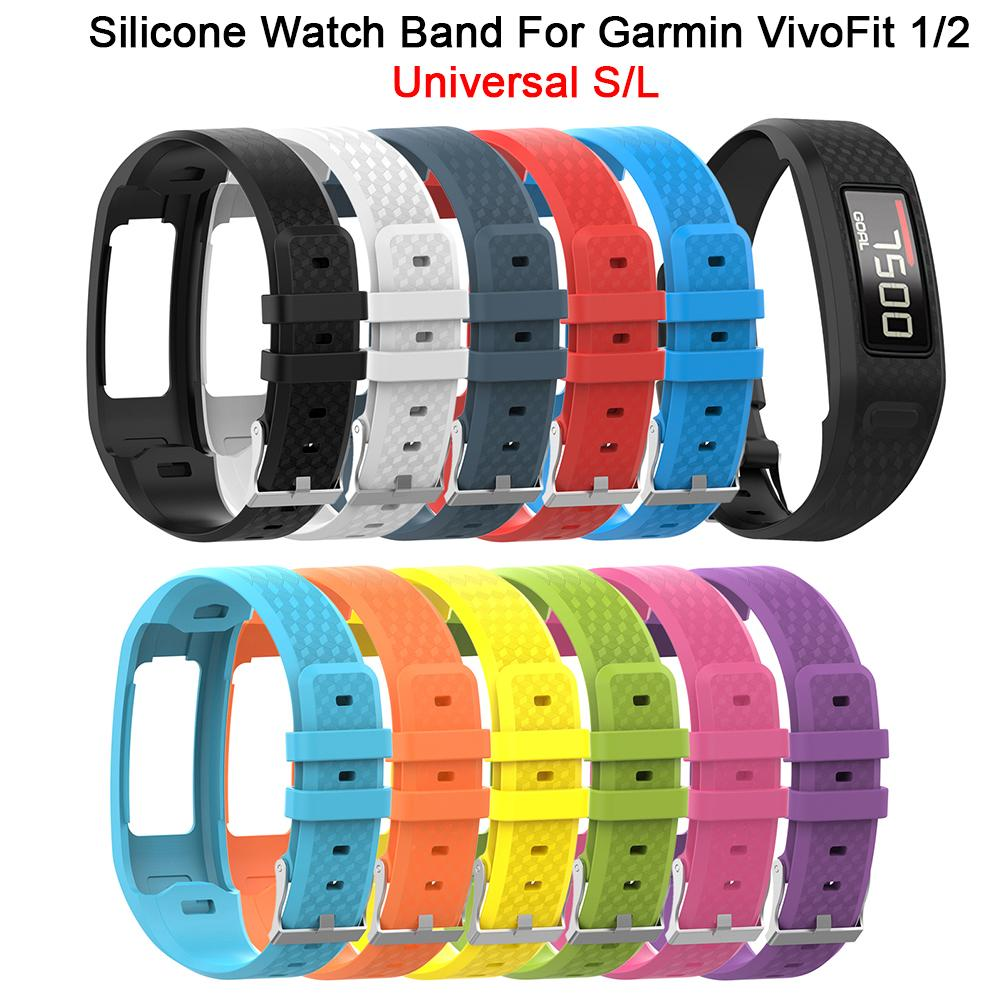все цены на New Comfortable Silicone Replacement Watch Band Strap Wrist Strap For Garmin VivoFit 1 Generation 2 Generation Universal S/L онлайн