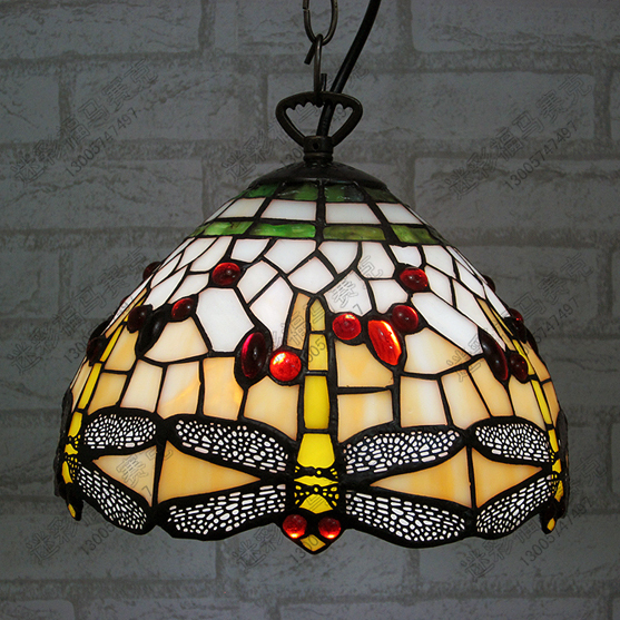 10inch European tiffany Style Stained Glass pendant light classic retro Dragonfly decorative hanging lamp 16 retro european style tiffany stained glass inverted pendant lamp vintage hanging light kitchen dining room fixtures pl802