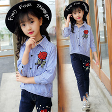 girls clothes sets 2018 new kids clothes autumn long sleeve embroidery floral striped blouse shirt+denim pencil pants 4-13T недорого