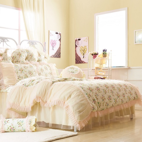 Floral print cotton lace korean style bed set princess girls kids twin queen king size bedding set 4/6pcs duvet cove bedskirt 28Floral print cotton lace korean style bed set princess girls kids twin queen king size bedding set 4/6pcs duvet cove bedskirt 28